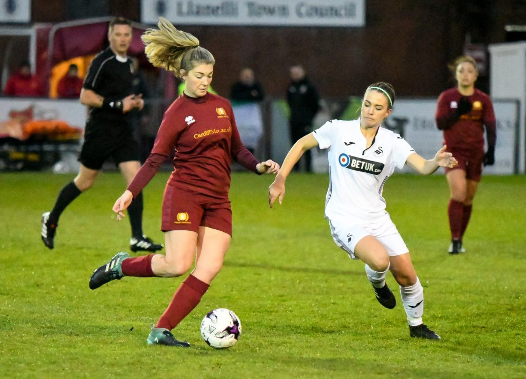 Emma Beynon about to tackle the Cardiff Met player