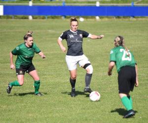Port Talbot Town Ladies goal scorer Lauren Amor (centre) on the attack against Aberystwyth Town Ladies