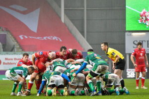 Guinness PRO14 match between Scarlets and Benetton at Parc y Scarlets Stadium in Llanelli, Wales, on Saturday, 20 February 2021.