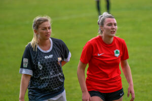 Jesci Hare of Port Talbot Town Ladies (left) and Alison Witts of Cyncoed Ladies scored 5 goals between them during the game